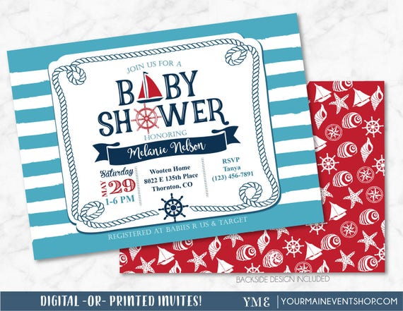 Nautical  Baby Shower Invitation - Sail Boat Beach Boy Baby Shower - Ahoy It's a Boy, Anchor Invite # 023