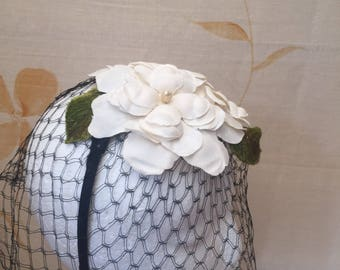 Restored 1950s vintage linen flower fascinator with black netting veil for wedding or races