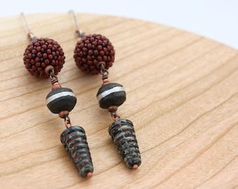 Beaded bead earrings. Long dangle earrings. Statement earrings. Glass, wood, brass. Cone beads and round beads.