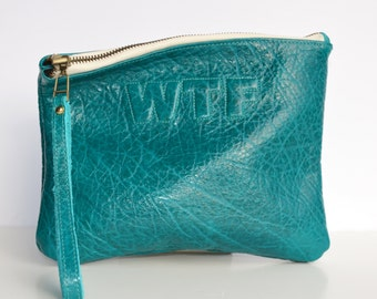 Medium Teal Textured Leather Clutch, Leather Pouch, Leather Monogram, Leather carryall, custom handmade to order with Initials