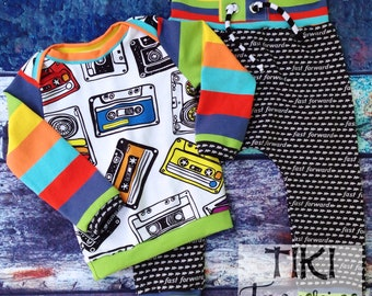 Cassettes and stripes play suit 9-12m