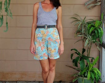 Vintage Floral Shorts / Sheer 1970's Medium Large