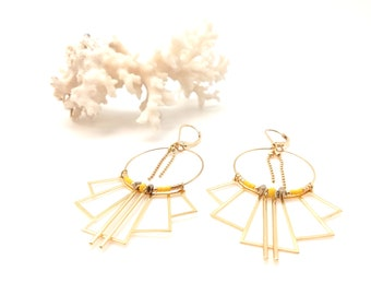 Ethnic earrings EVA gilded with fine gold yellow.
