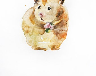 Hamster watercolor original, Hamster art, watercolor hamster, Watercolor Animal, small hamster art, Decor for kids, Art, pet gift OOAK
