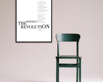 Where's The Revolution Poster Depeche Mode. Typographical printing. Scandinavian style. Gift Idea. Musical quotation. Nordic style. Décor.