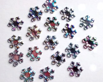 10 Jewelled silver AB snowflake cabochons - winter - earrings - card making - decoden crafts - scrapbooking - embellishments - sparkly jewel