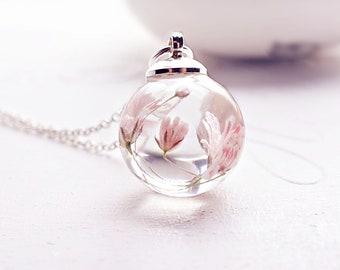 Real flower necklace Dried flower jewelry Terrarium necklace Nature pendant Pink flower necklace Dried flower necklace Gift for her