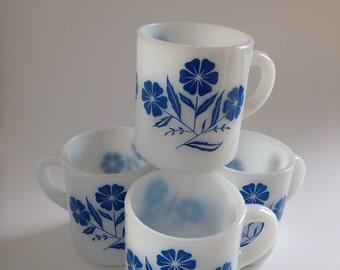 1950 Set of Four Milk Glass Hazel Atlas Mug Coffee Cup Blue Flower