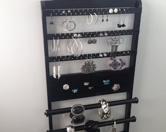 """ON SALE Jewelry Organizer Double Deluxe, """"You Choose The Stain"""" 25 x 14, Bracelet Holder, Earring Rack, Ring, Necklace, Wall Mount, Solid Oa"""
