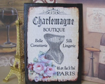 French Corset Sign, Paris Decor, French Bedroom Decor, Wall Art, Paris Bedroom Decor, Pink Roses Black, Vintage Corset, Steampunk, Victorian