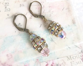 petite dangle earrings with Swarovski crystals on antique brass lever backs  #1008-13
