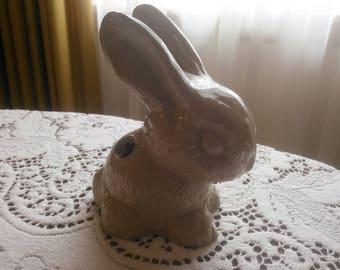 Vintage Rabbit Figurine - Easter Bunny - Rabbit Statue - Rabbit Figurine - Bunny Statue - Vintage Easter Decor - Rabbit Cottonball Dispenser
