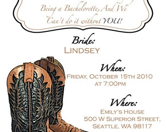 Bachelorette Party Invitation with glittered Cowgirl Boots