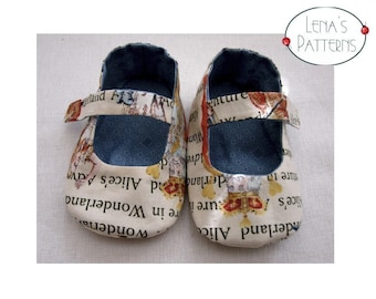 Alice Baby Shoes for Wonderland walk Easy Sewing Pattern - Reversible - PDF