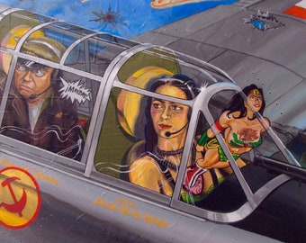 The Fighter Pilot  One giclee of original oil painting of Frida Kahlo and Diego Rivera in a fighter plane