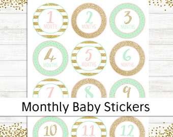 Monthly Baby Stickers, Baby Shower Gift, Printable Baby Growth Stickers, Month Milestone Growth Stickers Pink Gold Mint, Milestone Stickers