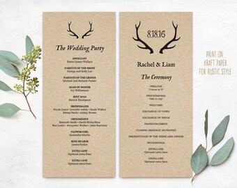 Wedding Program Template, Wedding Programs, Printable Wedding Program, INSTANT DOWNLOAD, Editable Text, Tea Length, Rustic Antler, VW22