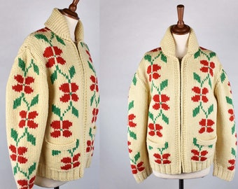 Hand Knit Cowichan Cardigan with Red Flowers