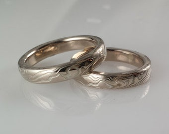 Mokume Gane Wedding Rings Handmade by Debra by CustomMokumeGane