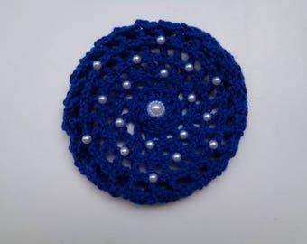 Medium Bun Cover with Pearls, Crochet Bun Cover, Bun Wrap, Bun Holder, Snood, Ballet, Dance, Equestrian Show Hair, Ballet Recital Gift