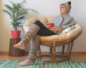 Brown leg warmers knitted warm long dancewear ballet gift for her womens earthy knit festival clothing hippie