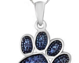 Blue Natural Diamond Accent Paw Print Pendant Necklace 14k Gold Over Sterling Silver