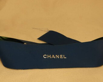 "New Piece of Blue & White CHANEL Satin Ribbon, 26"" x 2.25"""