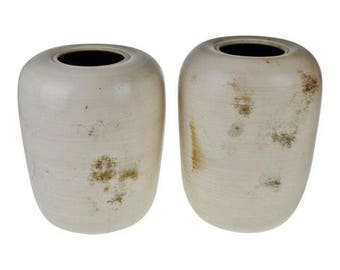 Vintage Handmade Art Pottery Signed Vases - A Pair
