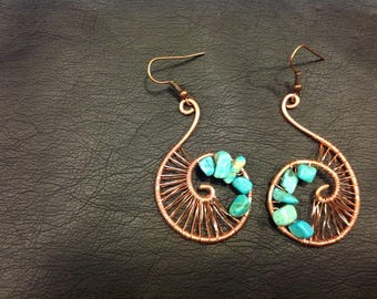 Copper and turquoise sea shell earings