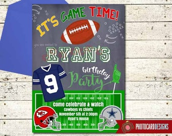 Football Birthday Invitation, Cowboys Invitation, Chiefs Invitation, NFL, Football Invitation, Football Game, Football Party, Watch Party