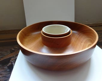 Cherry wood Chip and Dip bowl
