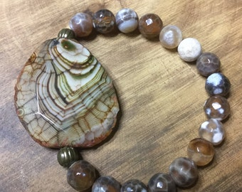 Brown crabfire agate bracelet, freeform agate bracelet, agate slab bracelet, agate healing bracelet, cleansing, calming bracelet, yoga, mala