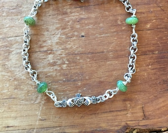Claddagh and Jade Celtic Bracelet with .925 Sterling Silver Chain and Clasp Cynthia Moon Artisans St. Patrick's Day  7 and 3/4 inches long