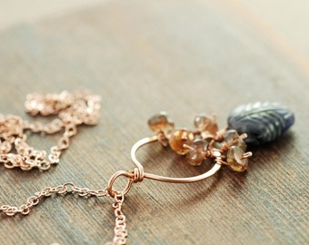 Autumn Leaf Rustic Gemstone Necklace in Rose Gold, Iolite Andalusite Pendant Necklace, Bohemian Jewelry