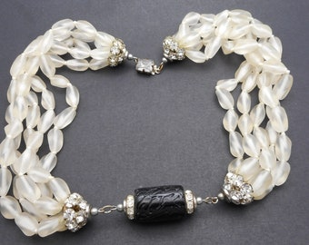 Stunning Vintage 1950s Satin Glass & Art Glass Bead Choker Necklace With Rhinestone Accents