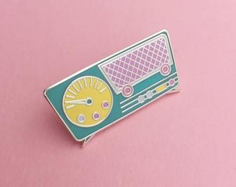 Retro Pastel Radio Enamel Pin Badge - Lapel Pin, Tie Pin