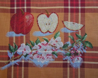 Embroidery cross stitch Apple blossoms
