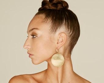 Disc earrings, African earrings, african jewelry, Boho Brass disc, tribal earrings, Big earrings, African earrings, Minimal earrings
