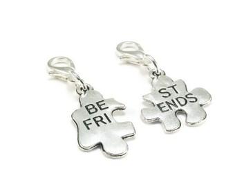 SALE Best Friend Zipper Pull Purse Charm Silver Clip On Charms Puzzle Piece