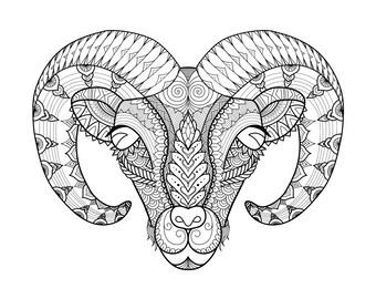 Ram Zentangle digital colouring sheet