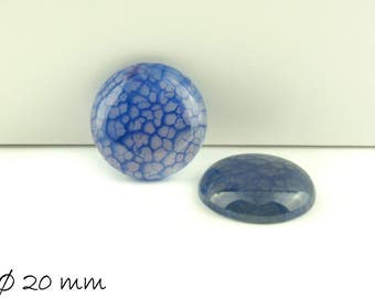 2 PCs cabochons, Dragon veins agate, 20 mm, blue