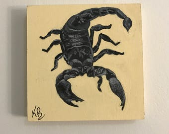 Original Hand Painted Acrylic Scorpion on Birchwood Panel