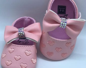 Pink Baby Mary Jane Shoes With Swarovski Crystals