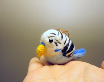 Bird Ornament - Christmas Parakeet - Needle Felted Animal Ornament - Budgie
