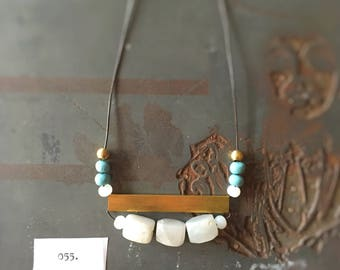 No. 055 - Artisanal White and Aqua Statement Necklace with Large Brass Rectangle - Balanced
