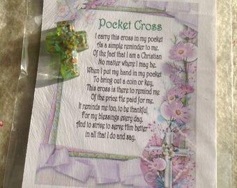 Pocket Cross, Gift Basket Gift, Novelty Gift, Red Hat Gift, Sentiment Gift, Tea Party Gift, Favor Bag, Wedding Shower, Mother's Day