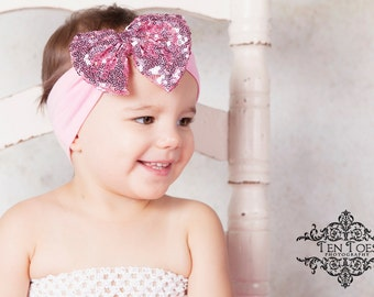 Baby Turban Headband, Pink Bow Baby Headband, Baby Headbands, Infant Turban