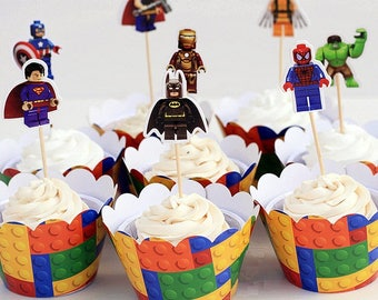 Lego Avengers/Superheroes Double-Sided Cupcake Toppers/Food Picks Party Decorating Favor Set of 24,Perfect For Any Boys Party