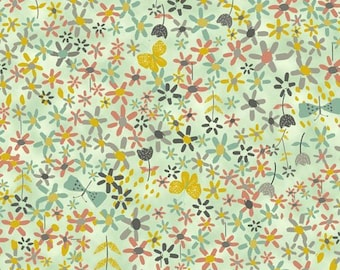 Modern Floral in Light Teal, Chartreuse, Gray, Coral - Full or Half Yard Flowers on Light Green by Quilting Treasures
