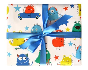 Wrapping Paper Monsters Gift Wrap - Birthday wrapping paper for boys and girls